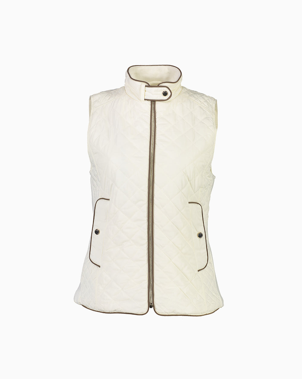 Quilted Down Touch Polyfill Vest - Cream