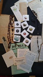 LOT Religious Ephemera, Pins and Rosary's