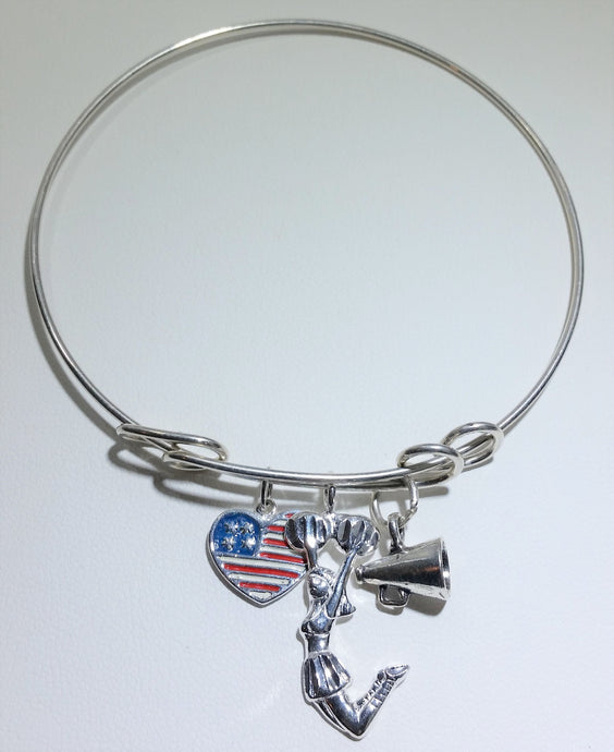 A Heart to Cheer- Cheerleader Bangle Bracelet