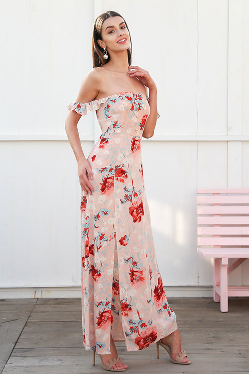 Away With The Wind Fuchsia Tropical Print Maxi Dress