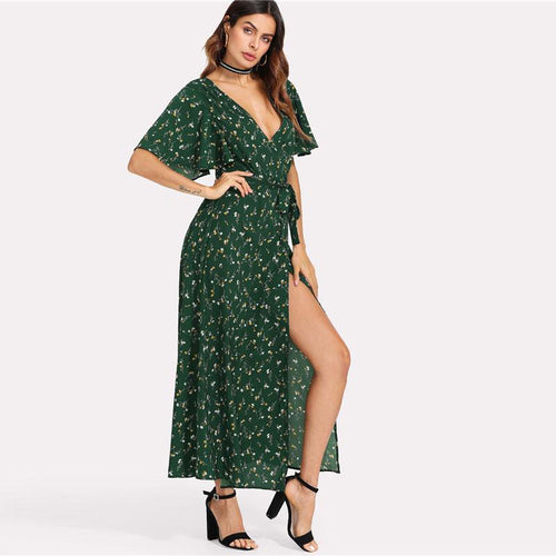 Bound To Happen Green Floral Print Maxi Dress