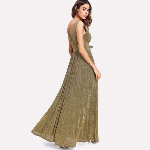 Truth Of It Gold Deep Striped Maxi Dress