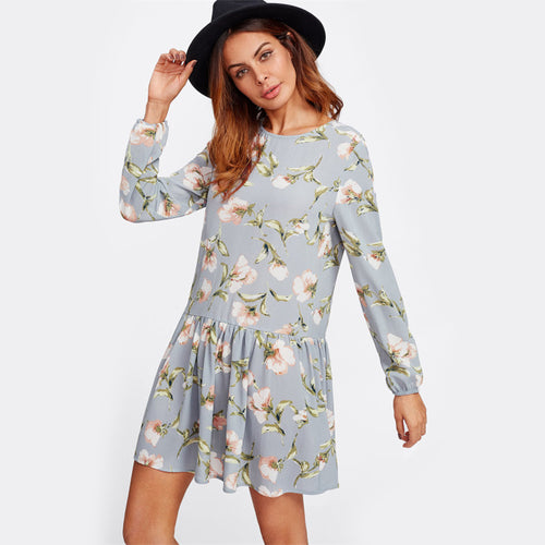 Fling For Two Navy Floral Print Dress