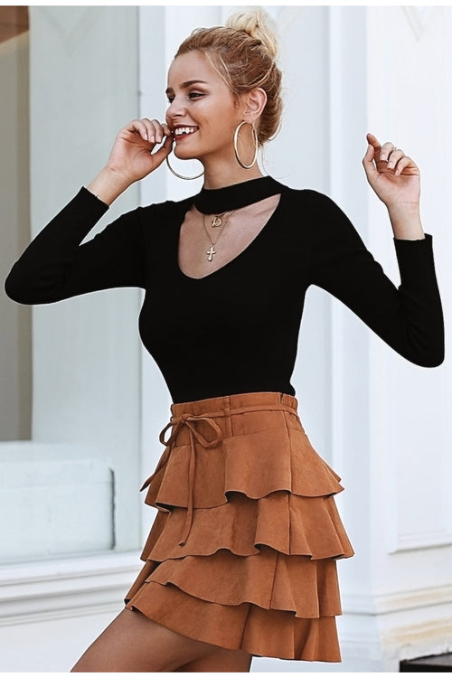 Selfish Intentions Brown Skirt