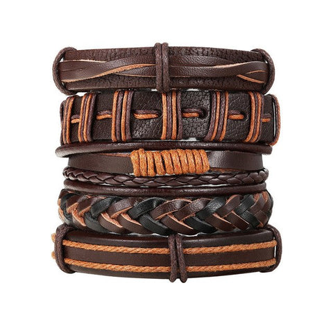 2018 Fashion leather bracelet 4pcs 1 Set women charm bracelets Bohemian bracelets & bangles Ethnic style gift jewelry for women