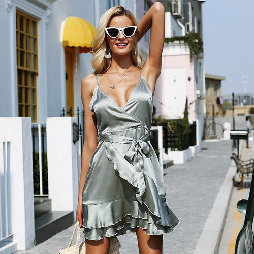 Simplee Backless strap satin short dress women V neck ruffle sash casual dress 2018 Summer style mini dress female vestidos