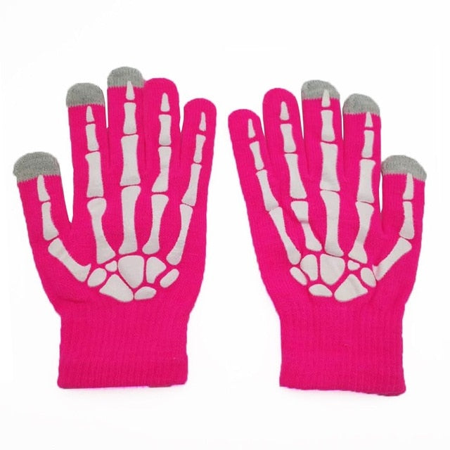 Skull Pair Of Soft Winter Unisex Touch Screen Gloves Texting Capacitive Phone