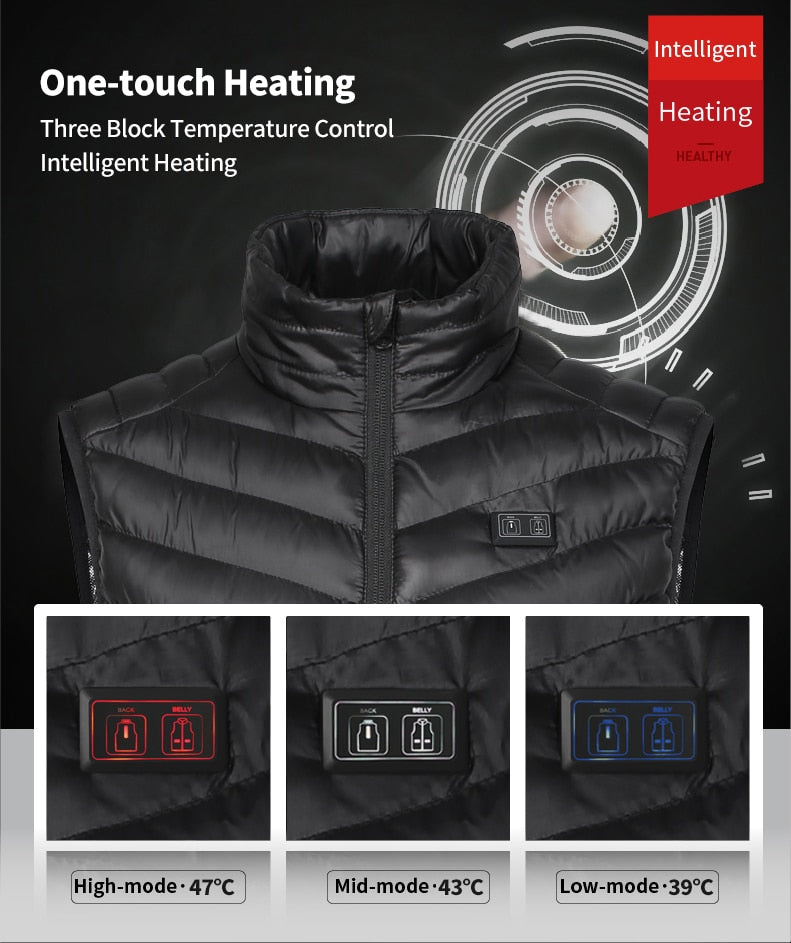 Double Control Upgraded Men Winter Outdoor USB Infrared Heating Vest Jacket Electric