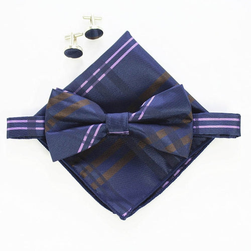 Tie Sets Mens Slim Tie Dot Floral Ties Hanky Bowtie 6cm Blue Necktie Pocket Square Bow ties For Men Wedding Party