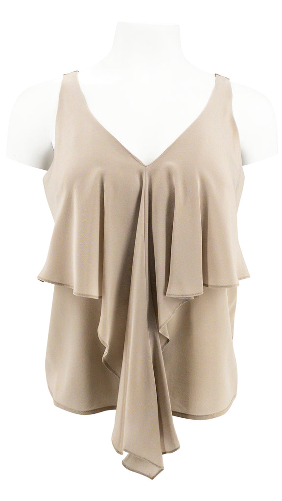 Amanda Uprichard Taupe silk v neck top