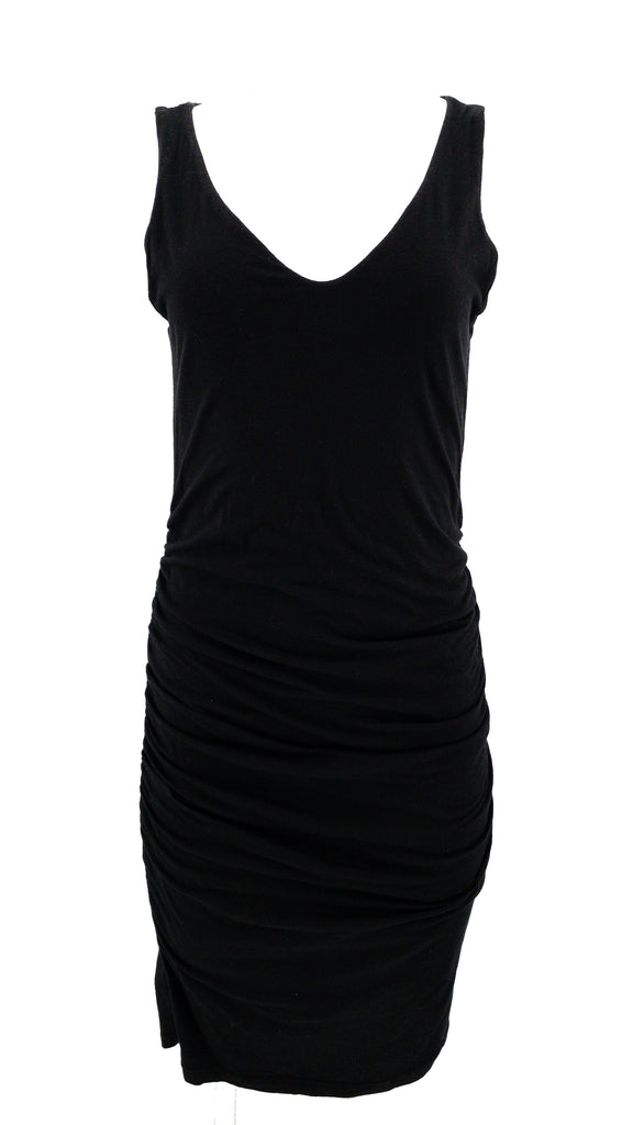 velvet sleeveless ruched dress black