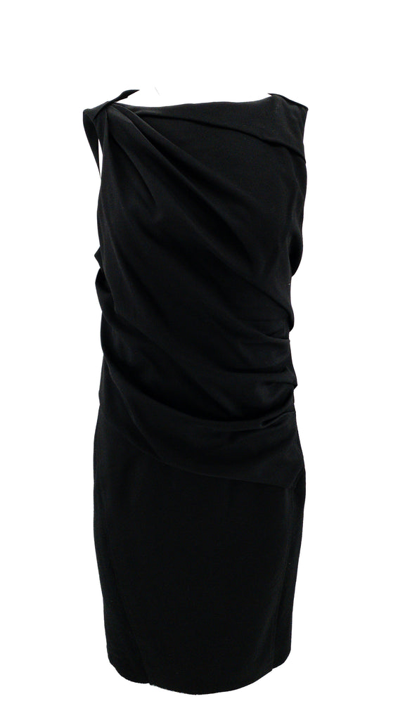 Helmut lang sleeveless shirred dress black