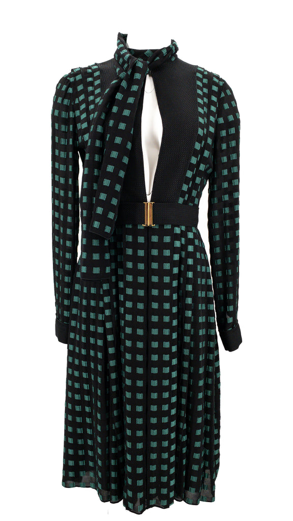 proenza shoulder dress green black check