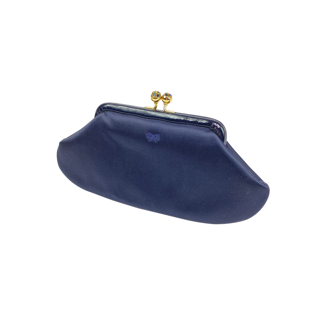 Anya hindmarch navy satin clutch