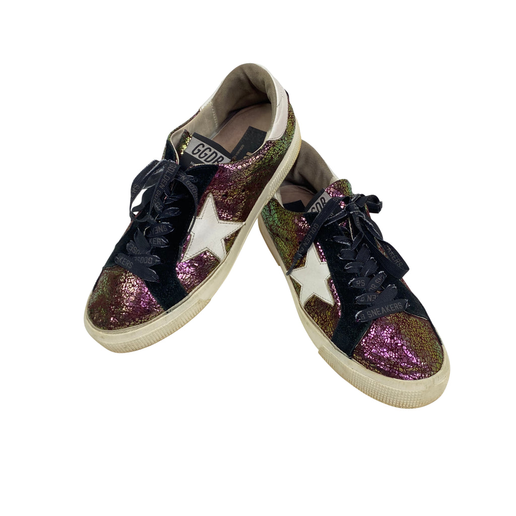 golden goose superstar low tops purple crackle metallic