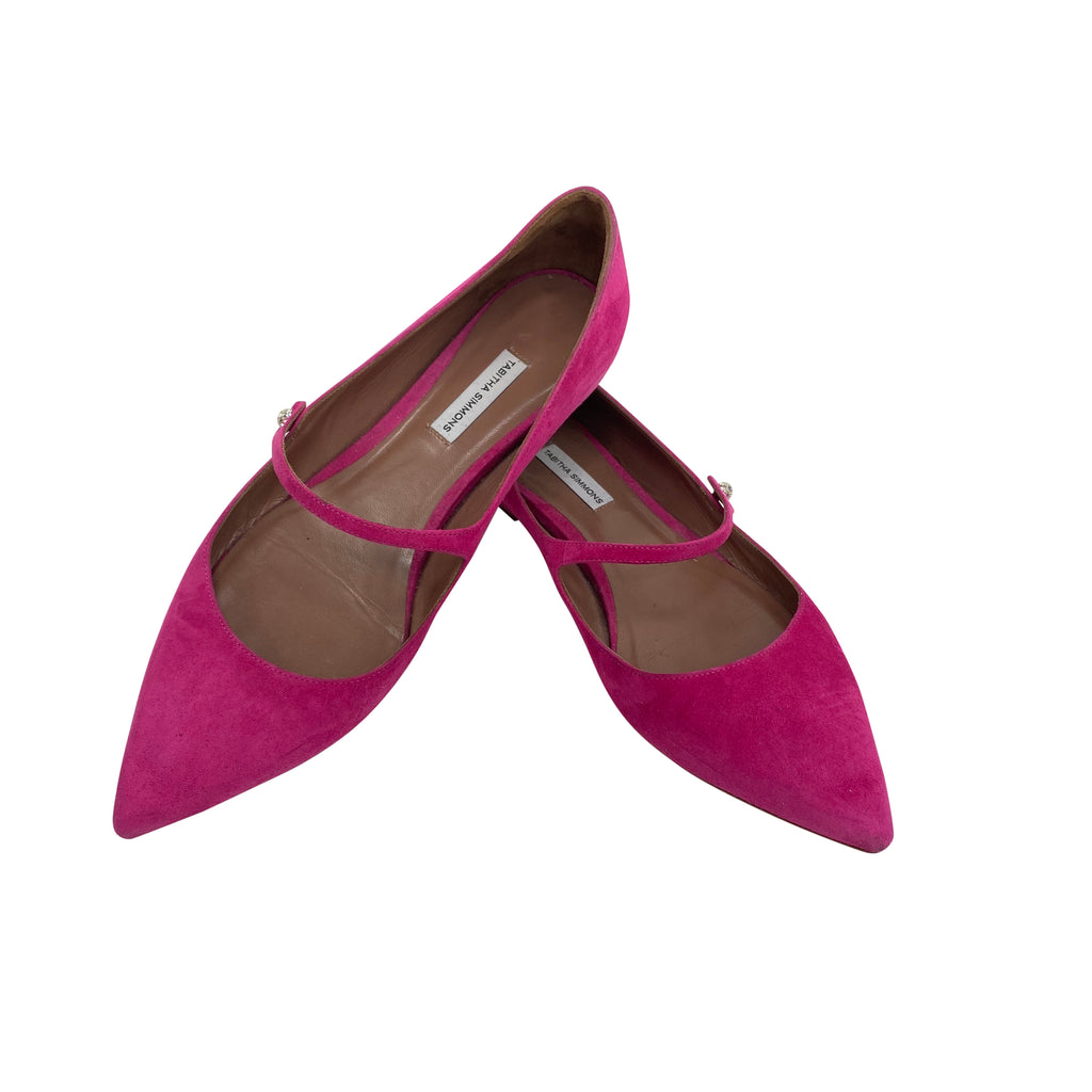 Tabitha Simmons pink suede flats