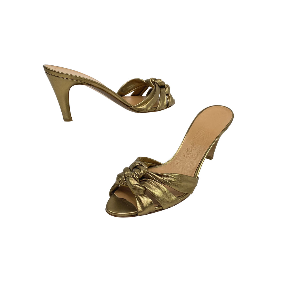 salvatore Ferragamo gold metallic heels