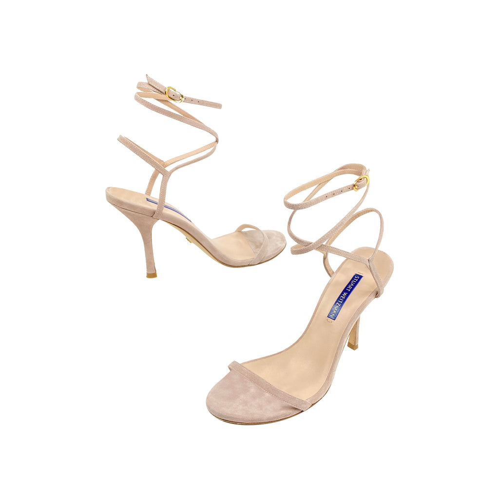 Stuart Weitzman blush suede wrap up sandals