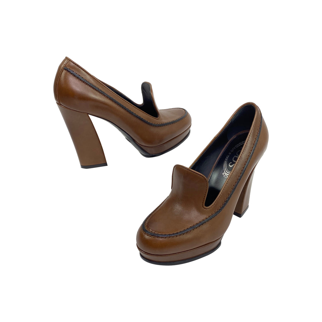 Tod's chunky heels brown leather