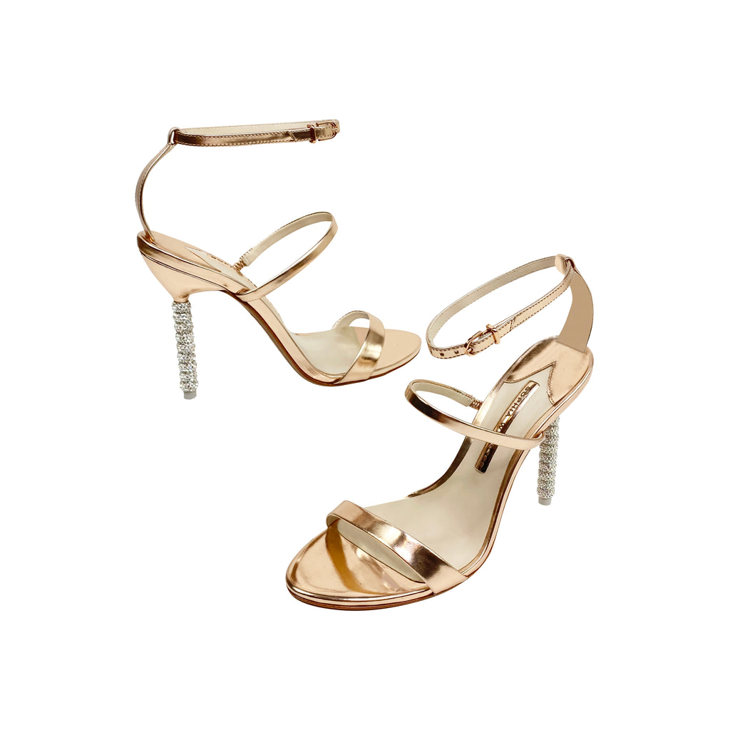 Sophia Webster rose gold sparkle heel sandals