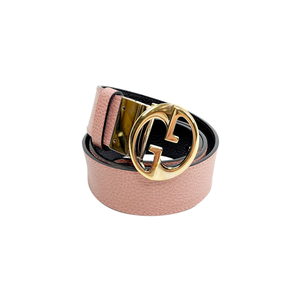 gucci pink leather black belt