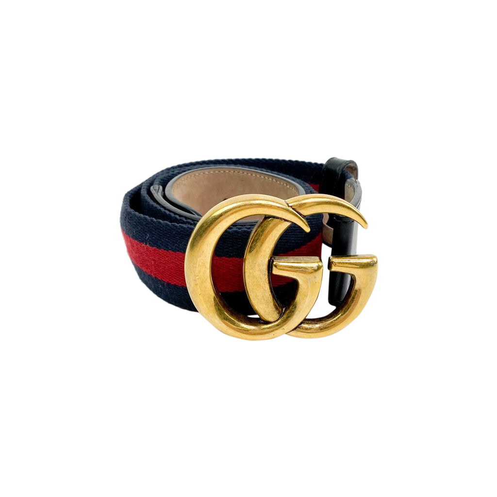 gucci marmont webbing belt navy red gold