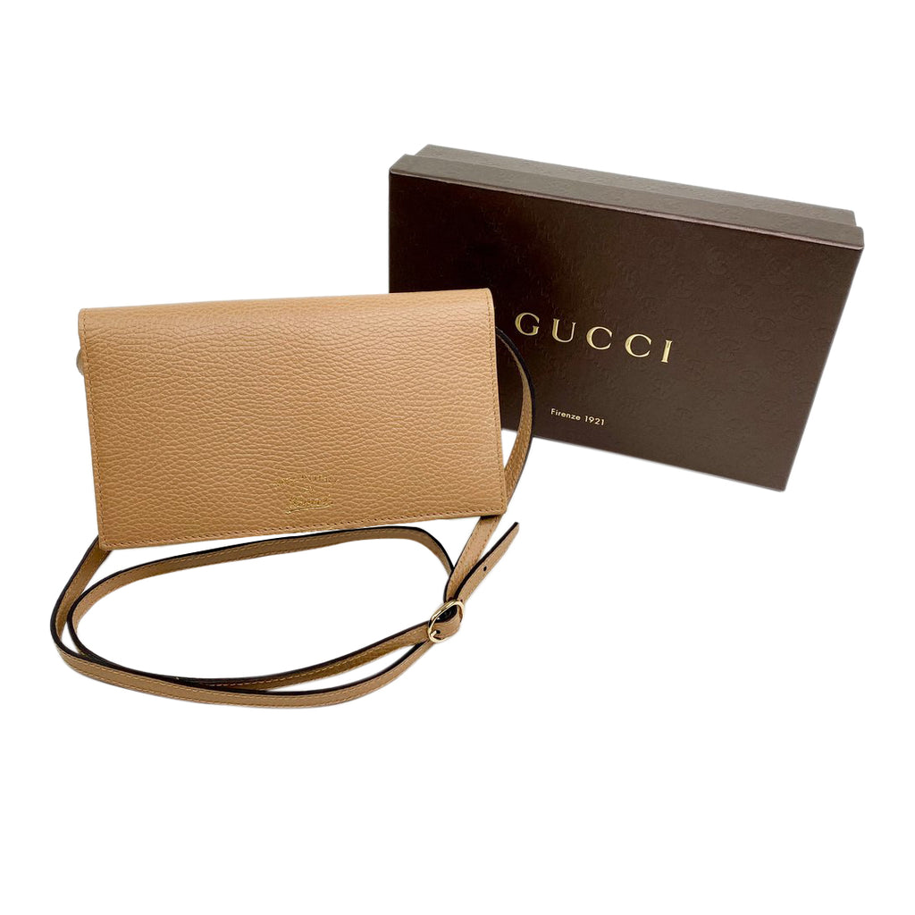 gucci crossbody beige leather wallet