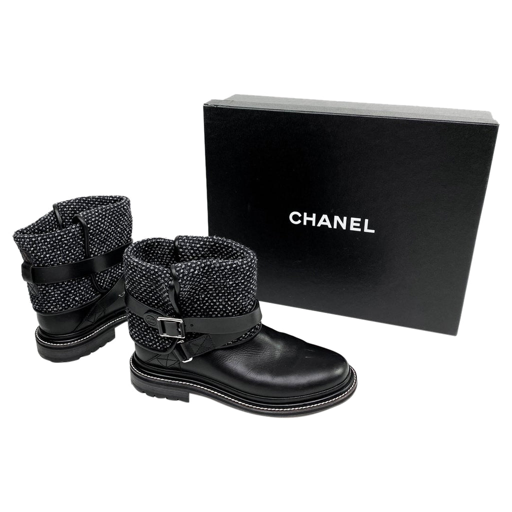 chanel tweed black booties boots