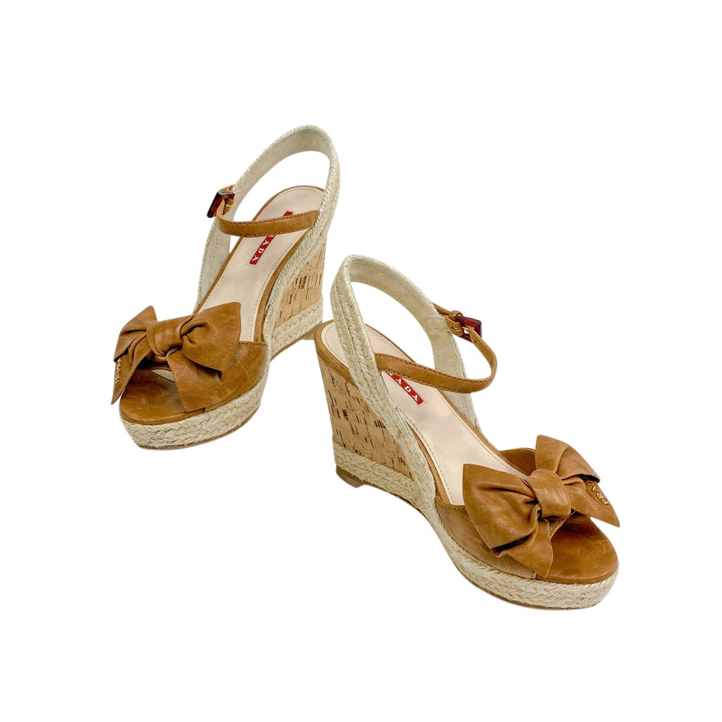 prada bow wedge cork brown