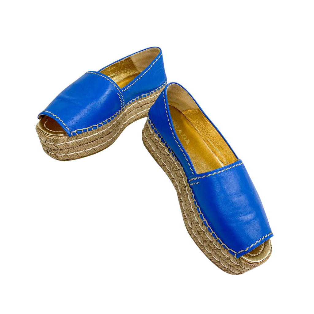 prada flatform espadrille blue leather