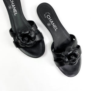 Chanel Flat Sandals with Bow - Size 37.5