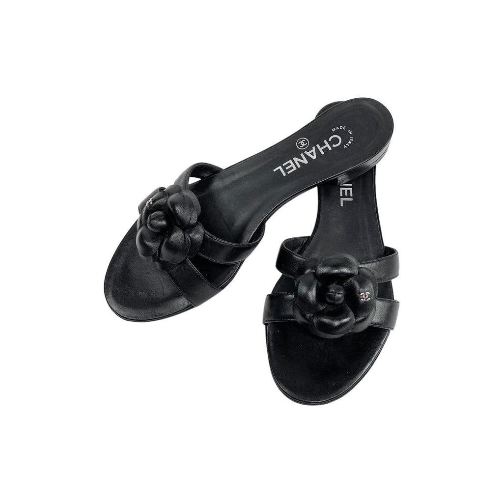 chanel camellia slides sandals black