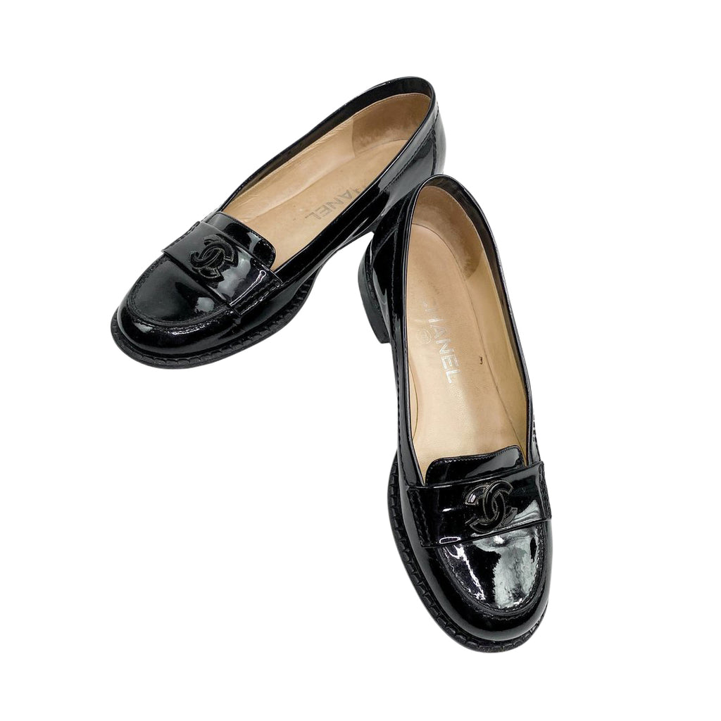 chanel loafers black patent leather