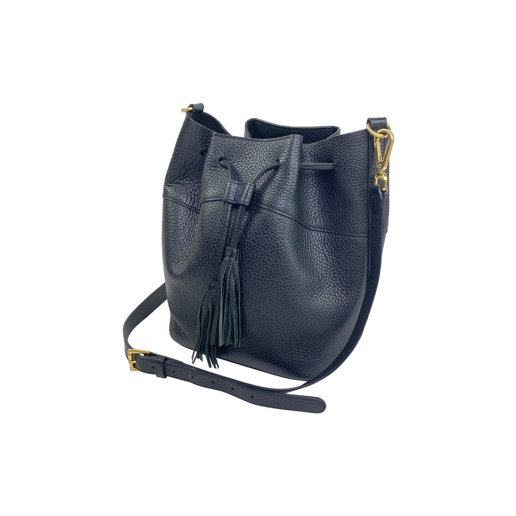 Gigi New York graphic image  pebbled leather bucket bag black drawstring