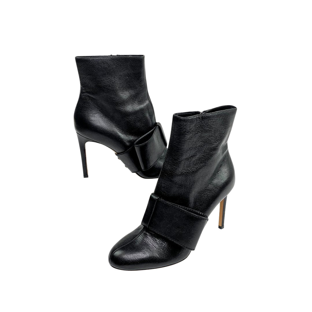 Valentino black booties bow heel