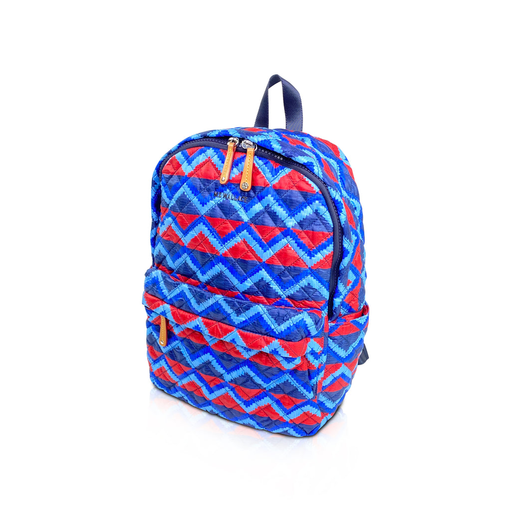 MZ Wallace nylons printed backpack blue red