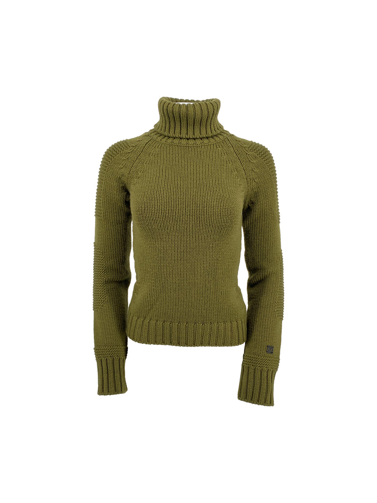 chanel olive green turtleneck sweater cropped