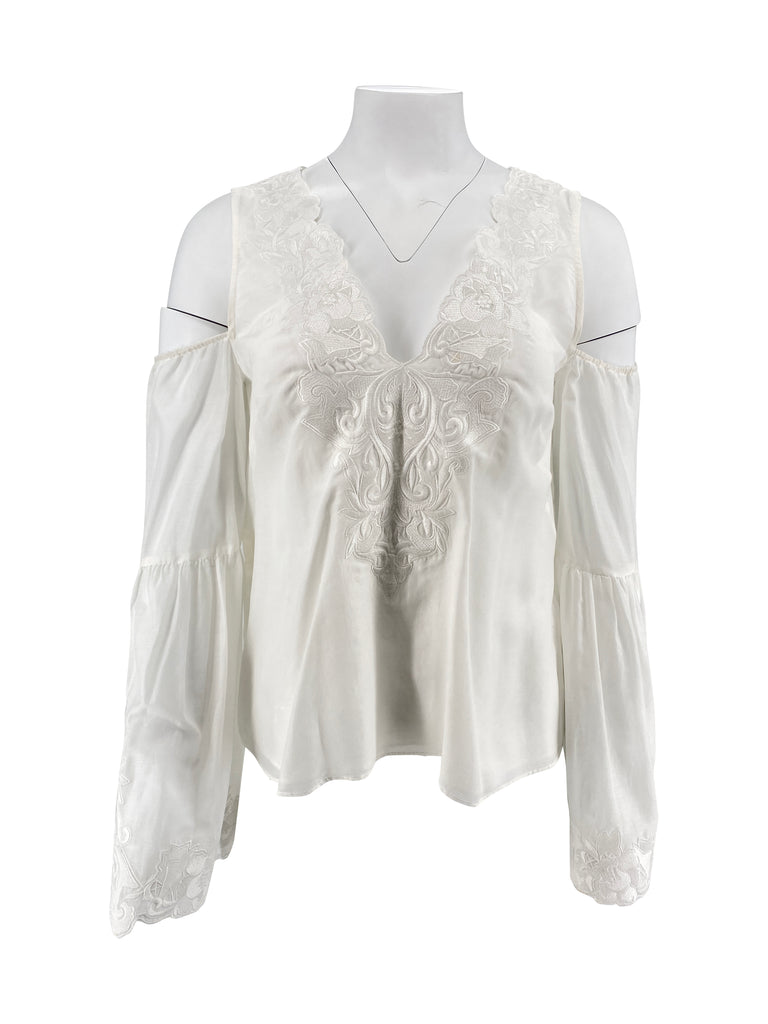 intermix long sleeve white cold shoulder top