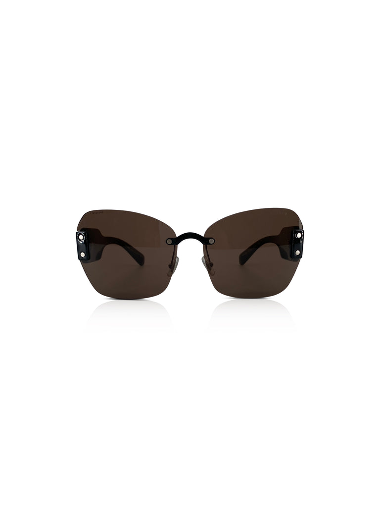 MIU MIU BLACK FRAMELESS SUNGLASSES