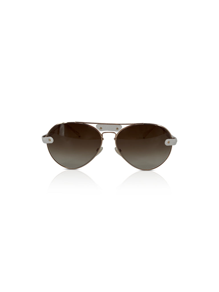 Chloe white gold sunglasses aviators