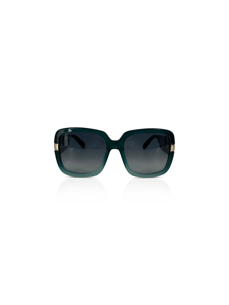 Salvatore ferragamo teal acetate sunglasses