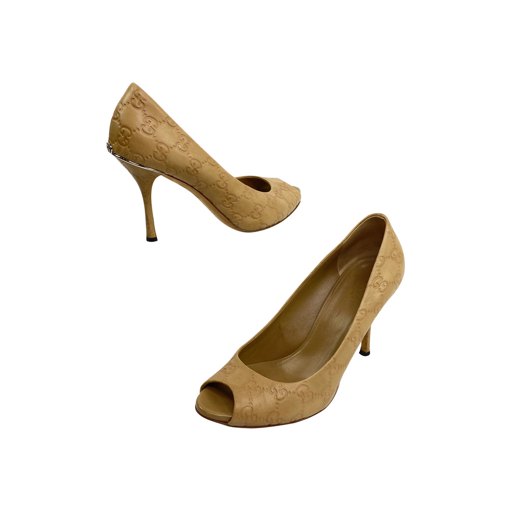 gucci peep toe pumps nude monogram leather beige