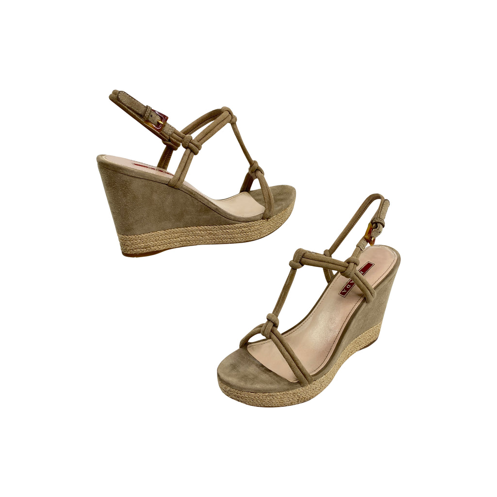 Prada suede wedges heels shoes espadrille taupe