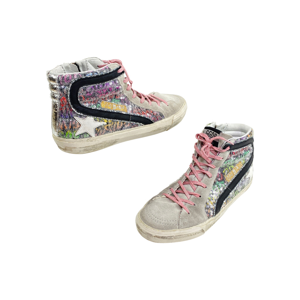 golden goose sneakers sequin suede multicolored high tops