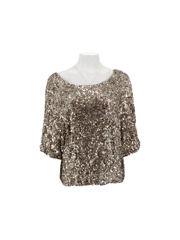 vince sequin dolman top blouse silver
