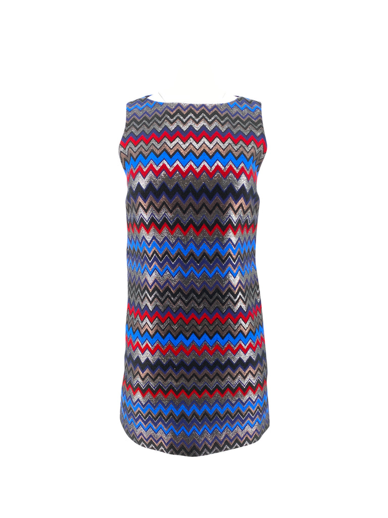 Alice and Olivia dress chevron red blue navy silver