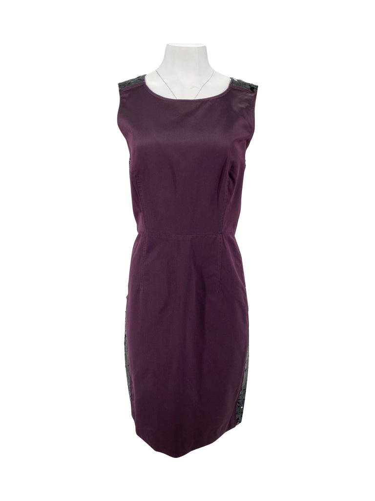 vera wang lavender label plum purple sleeveless dress sequin