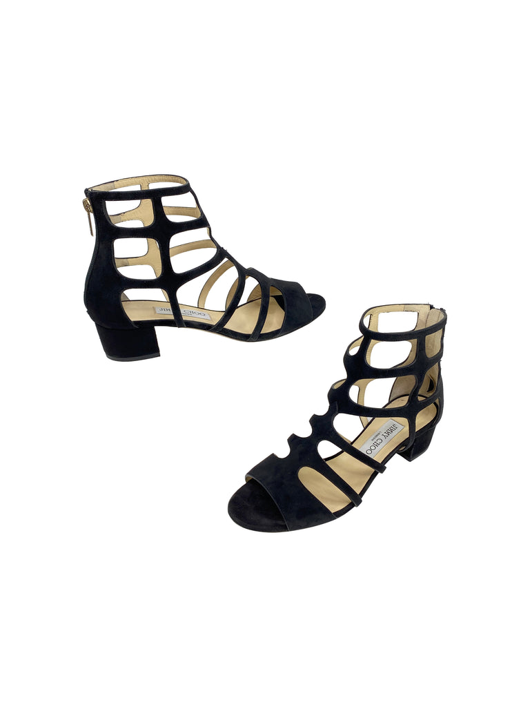 Jimmy Choo block heel caged sandals black