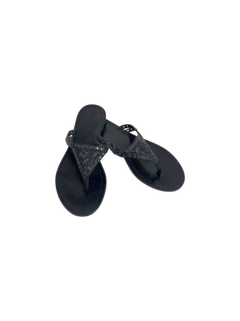 bottega Veneta leather sandals thong woven black