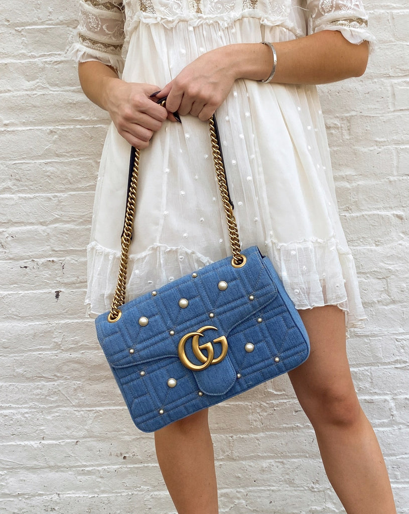 gucci marmont shoulder bag denim pearl